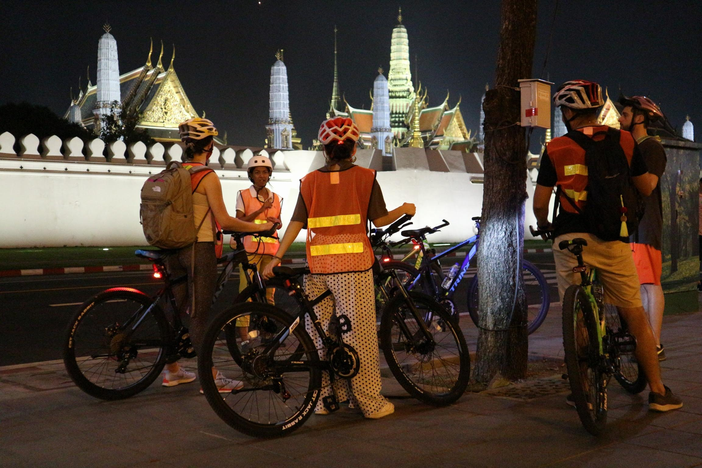 Night Bike Tour Outside the Royal Grand Palace in Bangkok
